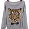 Grey long sleeve tiger print pullovers sweater - sheinside.com