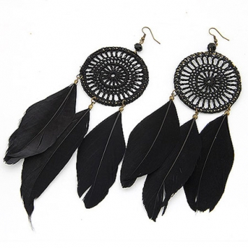 Black ethnic feather earrings