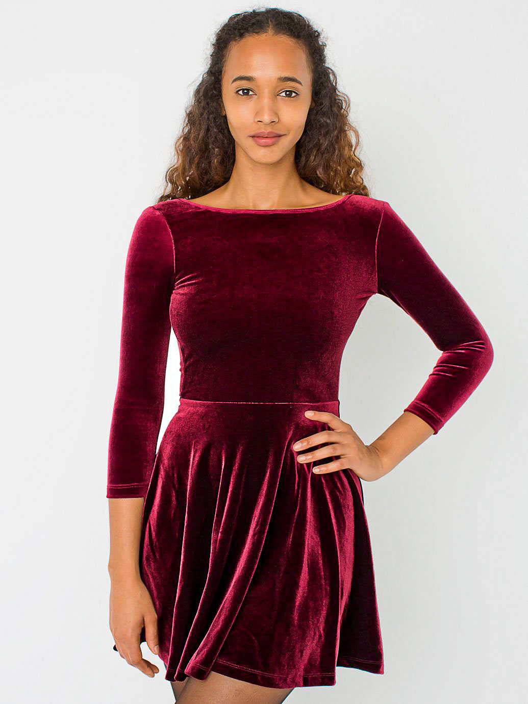 Karen Millen dark purple velvet skater evening dress with black neck trim size The dress has a concealed side zip and is fully lined. 99% cotton 1% elastane. From the underarm to the hem is 27