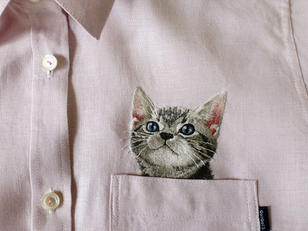 blouse cats shirt hip skirt cats cats cats kitty cat button up button up shirt embroidered embroidered pink collar