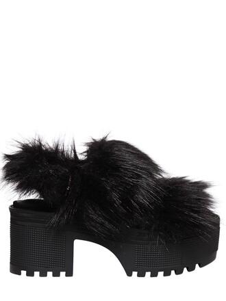 fur faux fur sandals black shoes
