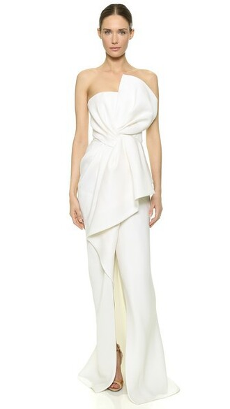 gown draped dress