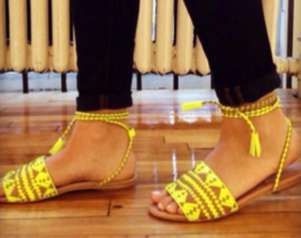 shoes flats tribal pattern tribal pattern neon neon yellow tan sandals aztec