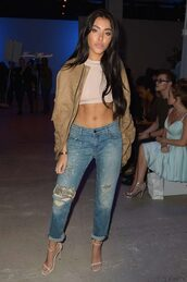 jeans,jacket,crop tops,top,madison beer,NY Fashion Week 2016,sandals