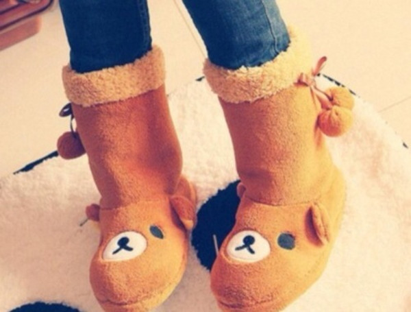 shoes rilakkuma brown comfy house slippers slippers
