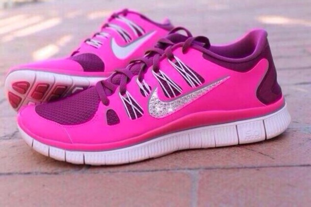 shoes pink glitter nike pink purple sparkle wheretoget