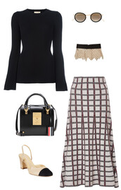 skirt,wool,bell sleeves,black jumper,collar,lace collar,patent bag,slingbacks,chekered shirt