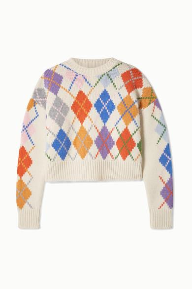 Miu Miu - Cropped argyle wool sweater