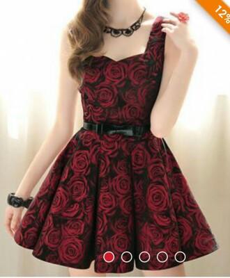 dress roses girly short