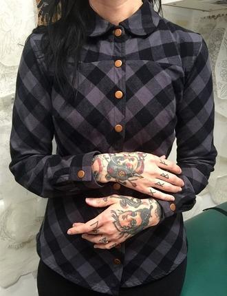 top shirt blouse grunge top grunge punk punk rock pop punk rockabilly purple plaid shirt flannel shirt peter pan collar soft grunge