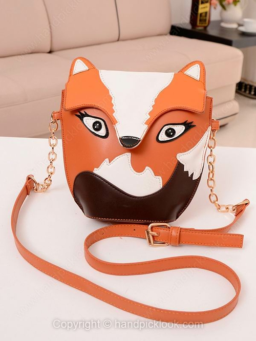Orange Fox Embellished Adjustable Satchel Bag - HandpickLook.com