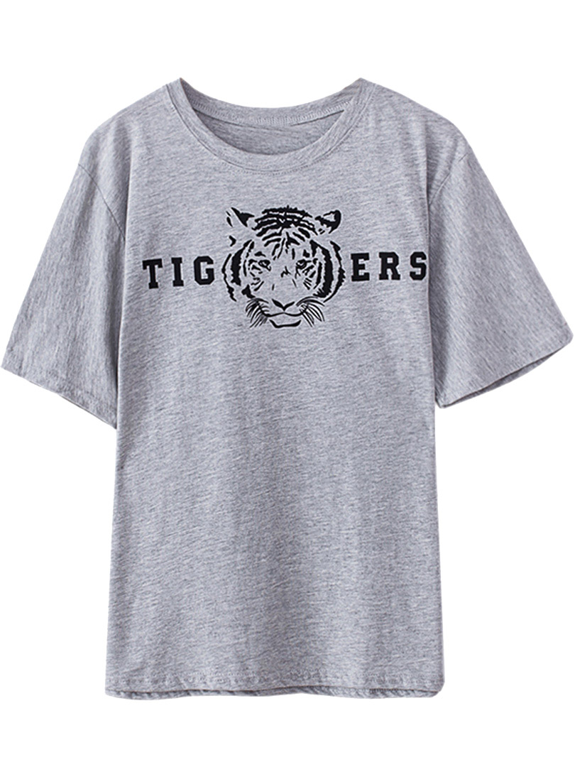 Gray Tiger Head Pattern Unisex T-shirt - Choies.com