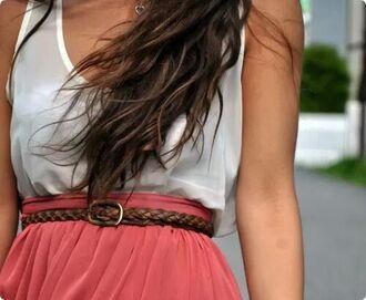 dress summer dress white dress red skirt braided
