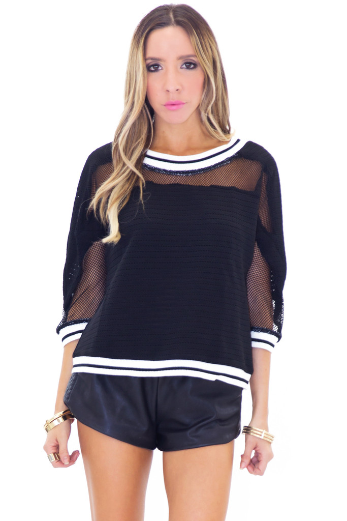 Bringom sporty mesh sleeve detail top