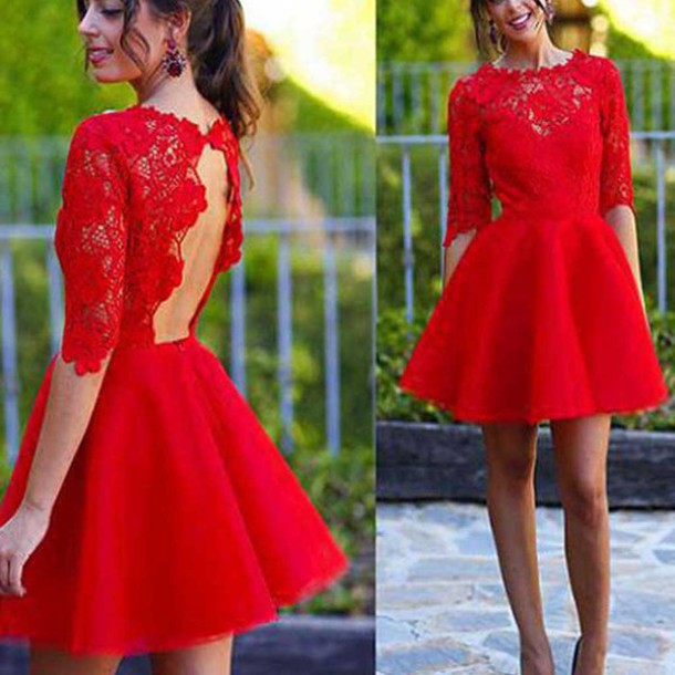 Dress: short homecoming dress, blush red homecoming dress, half ...