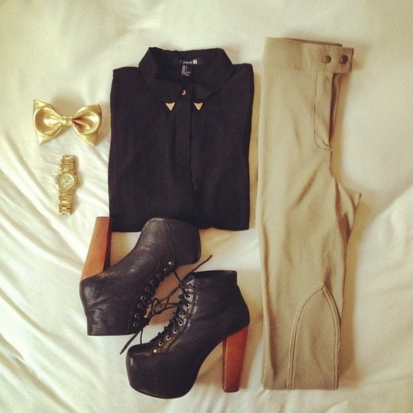 shoes pants blouse watch black gold
