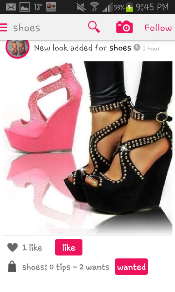 f51d3788794 TIMELESS ECHO Black Studded Wedges - SHOES