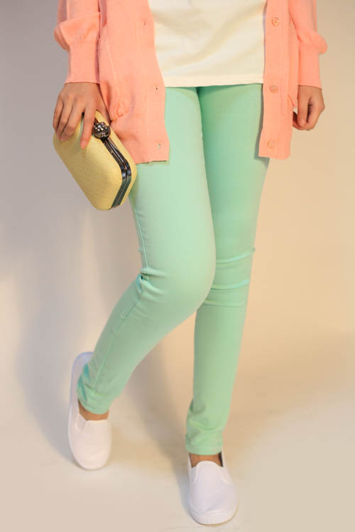 Mint green jeans skinny pants elastic-inJeans from Apparel & Accessories on Aliexpress.com