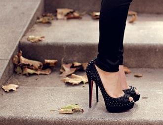 shoes black pumps peep toe pumps