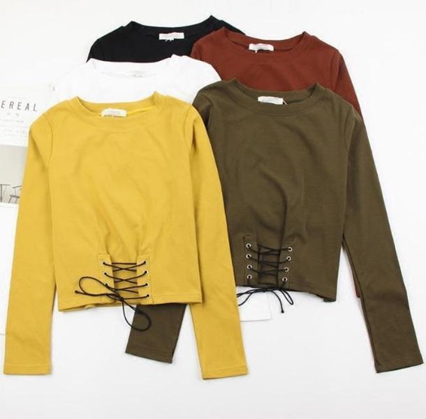blouse lace up girly sweater sweatshirt