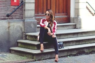 preppy fashionist blogger sunglasses t-shirt jacket jeans jewels baseball jacket