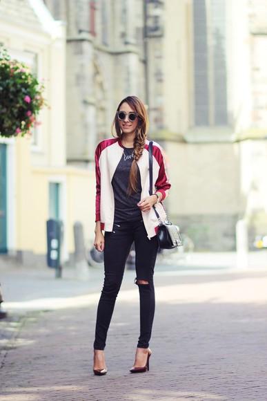 jacket baseball jacket jeans preppy fashionist blogger sunglasses t-shirt jewels