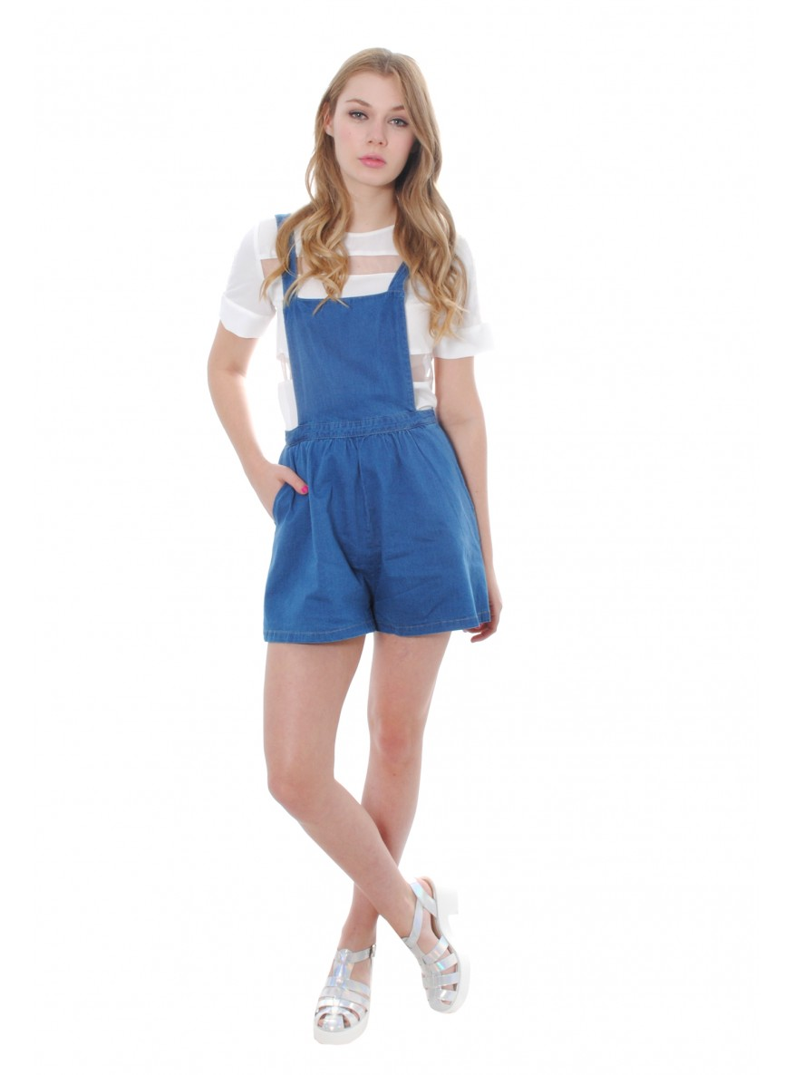 Blue Denim Pinafore Playsuit