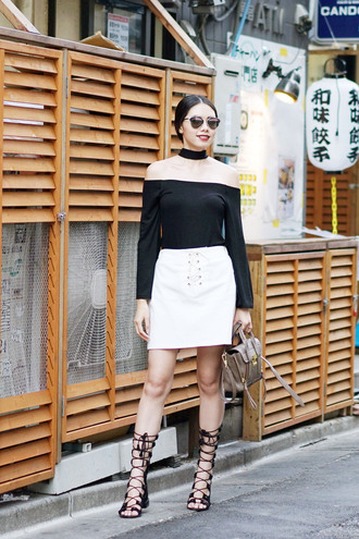olivia lazuardy blogger sunglasses top skirt shoes bag dior so real dior sunglasses off the shoulder top black top long sleeves black choker choker necklace white skirt mini skirt lace up skirt sandals gladiators black sandals jewels absolutemarket black off shoulder top