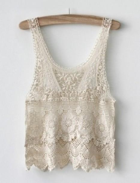 tank top white lacy