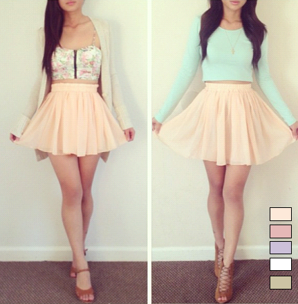 Pastel Chiffon Mini Skirt from Poison on Storenvy