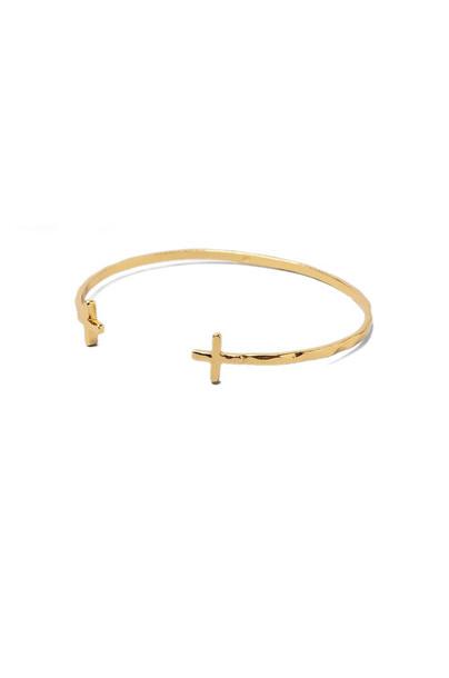 gorjana Cross Over Cuff Bracelet in gold / metallic