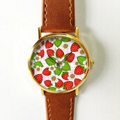 jewels,watch,handmade,style,fashion,vintae,vintage,etsy,freeforme,summer,spring,gift ideas,new,ove,hot,trendy,strawberry,floral,flowers,tropical,red,white,green