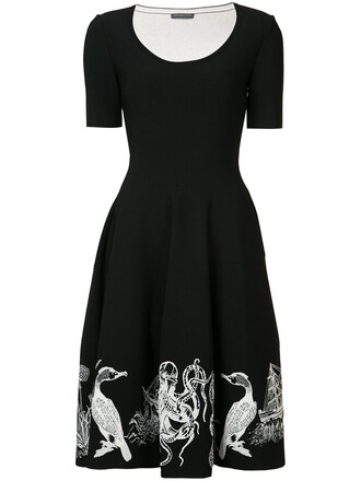 dress embroidered women spandex black