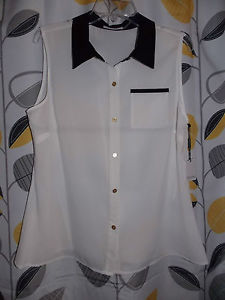 Ladies Calvin Klein Black Collar White Sleeveless Button Down Blouse Large | eBay