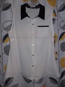 Ladies Calvin Klein Black Collar White Sleeveless Button Down Blouse Large | eBay