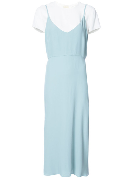 Zimmermann dress midi dress women midi layered blue silk