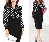 polka dots,black,black skirt,dress,sexy dress,sexy,elegant,style,fashion,girly,office outfits,midi skirt,bodycon dress