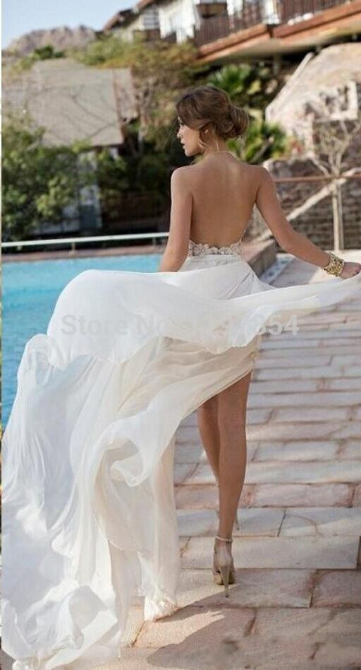 New Designer Detachable Skirt Wedding Dress 2015 Halter Sexy High Side Slit Beach Wedding Dress With Exquisite Appliques In Wedding Dresses From