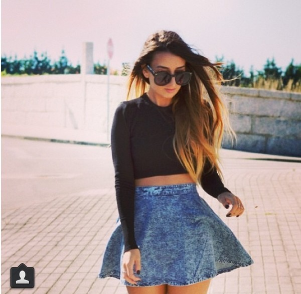 skirt jeans vintage old school high waisted blue skirt blue skirt shirt sunglasses
