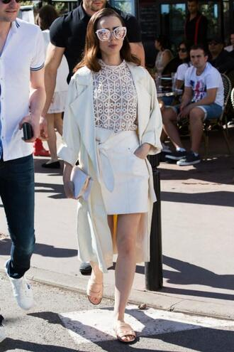 skirt blouse top cannes spring outfits streetstyle lily collins mini skirt sunglasses shoes slide shoes