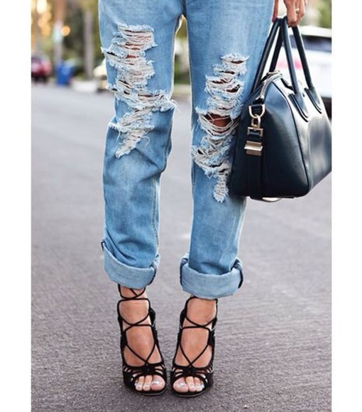 classy bag black bag skinny jeans jeans destroyed jeans high heels sun