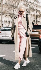 jumpsuit,pink jumpsuit,pink tracksuit,shoes,pink track suit top and bottom,white skeakers,white sneakers