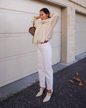 jeans,white jeans,high waisted jeans,mules,belt,sweater,oversized sweater,scarf,hoop earrings,handbag