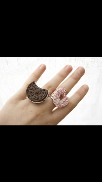 jewels donut ores pink brown accessories finger trendy fashion