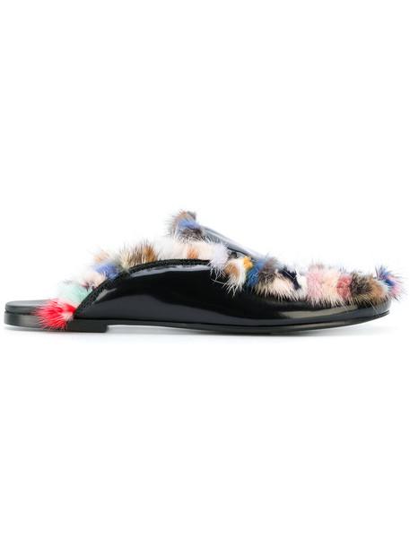 Joshua Sanders fur faux fur women mules leather shoes