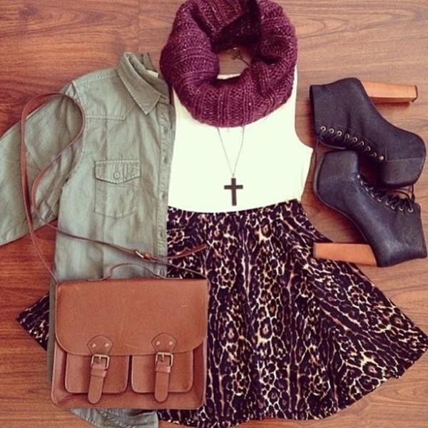 skirt outfit leapord skater skirt cute coat scarf