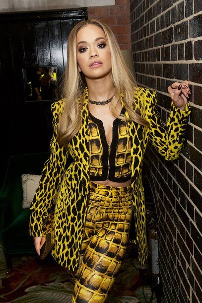leggings animal print versace rita ora yellow blazer vest top crop tops