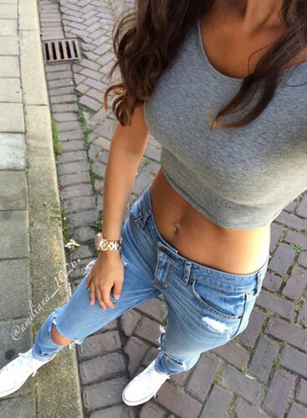 jeans top grey style fashion crop tops denim t-shirt