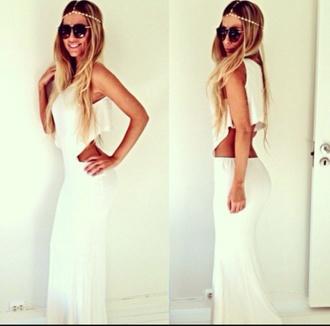 white long dress open back prom dress blonde girl