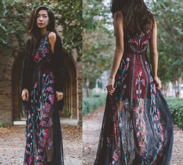 dress embroidered chiffon floral dress floral johnny was embroidered dress floral maxi dress